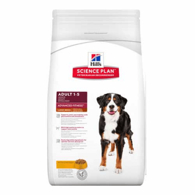 """""""Science Pla Canine Adult Advance Fitness Large Breed Chicken"""" - Пълноценна храна с пилешко за кучета от едри породи с умерени енергийни нужди"""