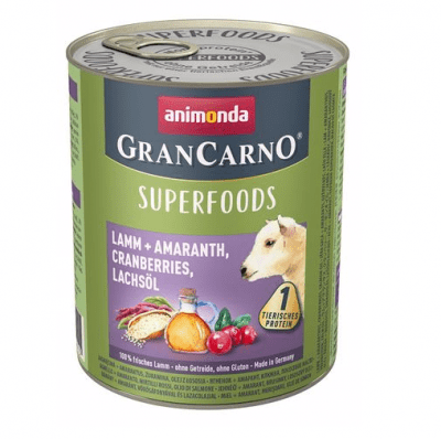 Консервирана храна за кучета Animonda GranCarno Superfoods Lamb, с агне, амарант, червени боровинки, масло от сьомга, 400гр
