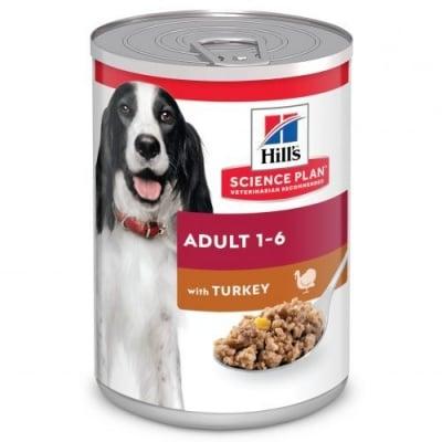Пълноценна храна за кучета от 1 до 6г. от всички породи Hill's Science Plan Adult, с пуйка, 370гр