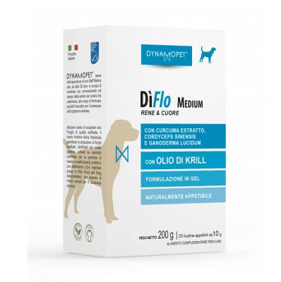 Хранителна добавка за кучета Dynamopet DìFlo Medium, предназначена за физиологичното благосъстояние на бъбреците и сърцето, 20брх10гр