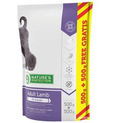 nature's protection Adult Lamb -Селектирана храна с вкусно агнешко за израстнали кучета от всички породи 500ГР+500ГР