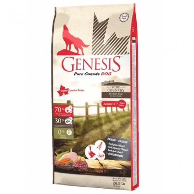 Храна  за възрастни кучета Genesis Pure Canada Wide Country Senior, С прясно месо от гъска, фазан и патица, три разфасовки