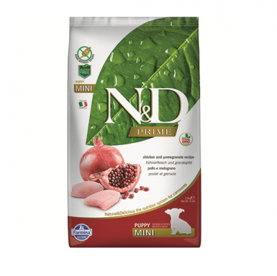 Храна за за подрастващи кучета от дребни породи N&D PRIME Puppy MiniChicken & Pomegranate, с пилешко месо и нар, 800гр
