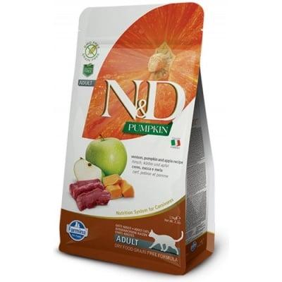 """""""N&D CAT GRAIN FREE PUMPKIN VENISON & APPLE ADULT"""" – Пълноценна храна за котки над 1 година с тиква, еленово месо и ябълки"""