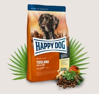 Храна за кучета Happy Dog Супер Премиум Тоскана - за пораснали кучета с нормални до ниски енергийни потребности - три разфасовки