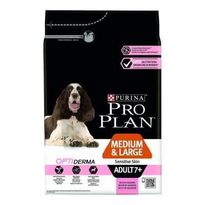 Храна за кучета от средни и големи породи над 7 годишна възраст с чувствителна кожа Purina PRO PLAN Medium&Large Adult 7+ Sensitive Skin, със сьомга, 14кг