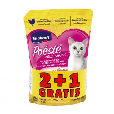 Пауч за котки Vitakraft Поезия Пилешко филе - ПРОМОКОМПЛЕКТ 3 брx85гр
