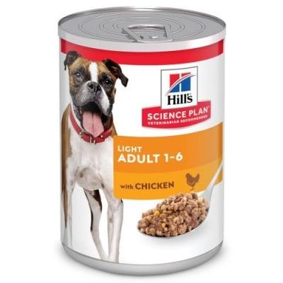Нискокалорийна храна за кучета от 1 до 6г. от всички породи, склонни към наднормено тегло Hill's Science Plan Adult Light, с пилешко месо, 370гр