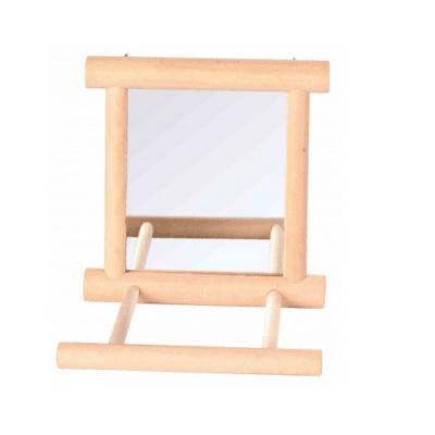 Играчка за птици - Огледало с дървена рамка, 9х9 см.