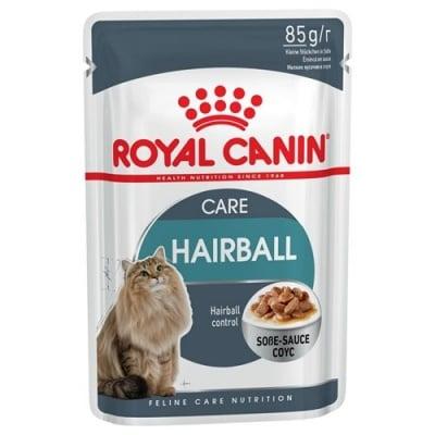 Royal Canin Hairball - Самостоятелна храна за израснали котки, крехки късчета в сос, способства за отделяне на погълнатите косми, помага за поддържане на идеалното тегло, за здрава храносмилателна система 85гр