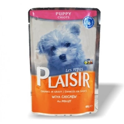 Пауч Plaisir puppy за кученца до 12 месеца - с пилешко месо в сос Грейви, 100 гр.