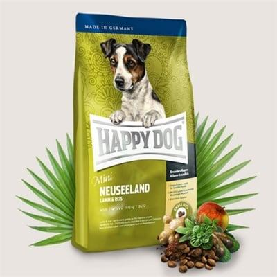 Храна за кучета Happy Dog Мини Нова Зеландия за дребни кучета с тегло до 10кг с агнешко месо  и зелени миди - две разфасовки