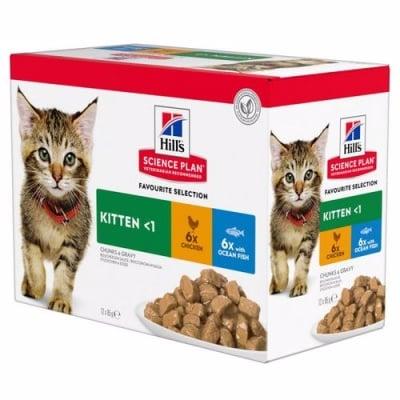 Пауч за малки котенца до 1 год. Hills Science Plan Kitten Poultry Selectio, с пилешко и пуешко 12 x 85 гр.