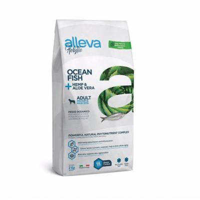 Пълноценна храна за възрастни кучета от средни и големи породи Alleva® Holistic Adult Medium/Maxi, с Океанска Риба + Коноп и Алое вера, 2.00кг