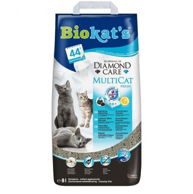 Мултифункционална постеля за котешка тоалетна с цвят от памук Biokat's Diamond Care MultiCat fresh 2 in 1, 6.00кг