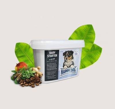 Храна за кучета Happy Dog Baby starter - Пълноценна храна за малки кученца от всички породи от 4 до 6 седмична възраст - две разфасовки