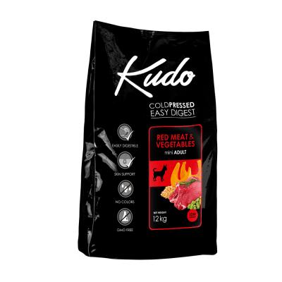 Храна за кучета от мини породи над 1 год Kudo Low Grain Red Meat Mini Adult, с месо, плодове, зеленчуци и лечебни билки, две разфасовки