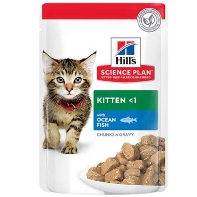 Храна за котенца до 1 год. и за бременни/кърмещи котки Hill's  Science Plan Kitten пауч с океанска риба, 12брх85гр