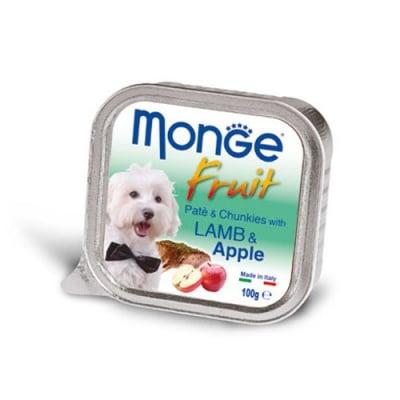 Пастет и хапки за кучета с агнешко и ябълки MONGE FRUIT Paté & Chunkies Lamb & Apple, 100гр