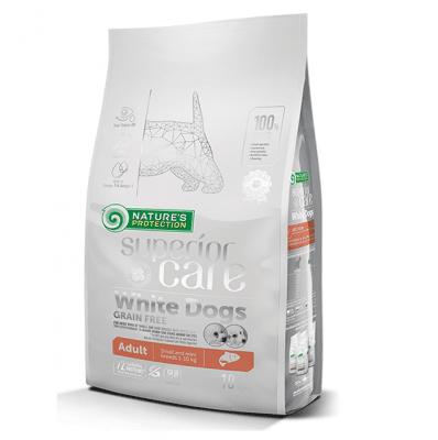 Храна за кучета с бяла козина от дребни породи White dogs Grain Free Salmon Adult Small and Mini Breed, със сьомга, две разфасовки