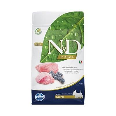 Храна за кучета в зряла възраст от дребни породи N&D PRIME Adult Mini Lamb & Blueberry, с агнешко и боровинки, 2.50кг