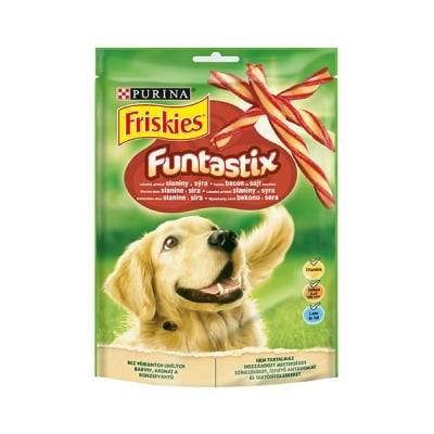 Лакомство за кучета в зряла възраст PURINA® FRISKIES® Dog Funtastix, с бекон и сирене, 175гр
