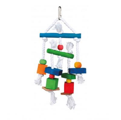 Дървена шарена играчка за папагал Trixie, 24 cм.