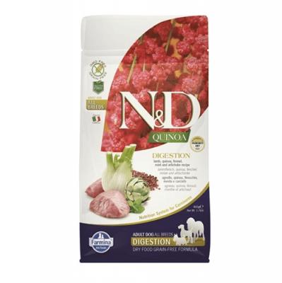 N&D QUINOA DIGESTION - Пълноценна храна за кучета с чувствителен стомах - с агнешко, киноа, копър, мента и артишок