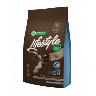 Пълноценна храна за кастрирани котки Nature`s protection Lifestyle, с бяла риба, без зърно, три разфасовки