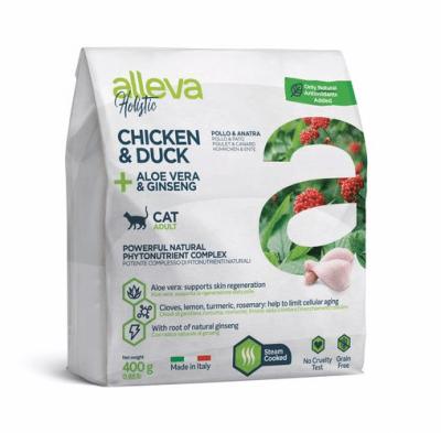 Пълноценна храна за възрастни котки Alleva® Holistic Adult Cat, с Пилешко и Патешко + Алое вера и Женшен, 0.400кг