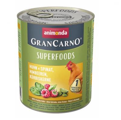 Консервирана храна за кучета Animonda GranCarno Superfoods Chicken, с пиле, спанак, малини, тиквено семе, 800гр