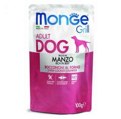 Пауч за куче хапки на грил с телешко месо MONGE GRILL Chunkies with BEEF, 12 броя х 100гр