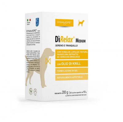 Хранителна добавка за кучета Dunamopet DìRELAX помага на кучето да преодолее моменти на напрежение и нервност; полезно при пътуване и за намаляване на страха от фойерверки, за кучета от средни породи