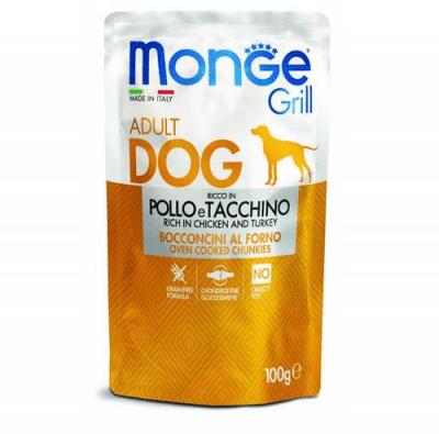 Пауч за куче  MONGE GRILL Chunkies с пиле и пуйка, 12 броя х 100 гр