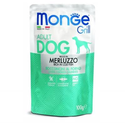 Пауч за куче MONGE GRILL Chunkies с треска, 12 броя х 100гр