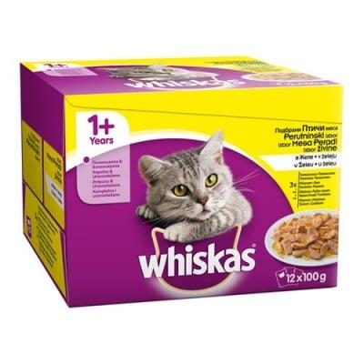 НОВО! Whiskas Pouch Adult - Пауч за котки, мултиопаковка, различни вкусове, 12 х 100 гр.