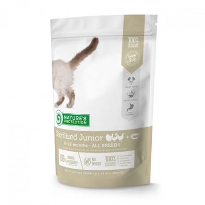 Nature's Protection Sterilised junior Poultry with krill - Пълноценна храна за малки кастрирани котки /от 6 до 12 месеца/ с домашни патици и крил - 0.400кг; 2.00кг; 7.00кг