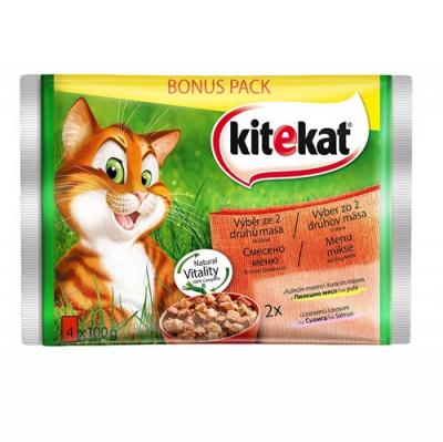 Kitekat Pouch Mix Menu in Gravy - Смесено меню в сос грейви за котки в зряла възраст - опаковка от 4 пауча x 100 g