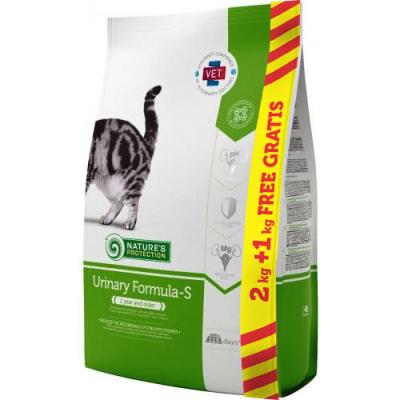 Храна за коте Nature`s Protection Urinary Formula-S /законтрол на pH на урината/ 2 кг.+1 кг. ГРАТИС