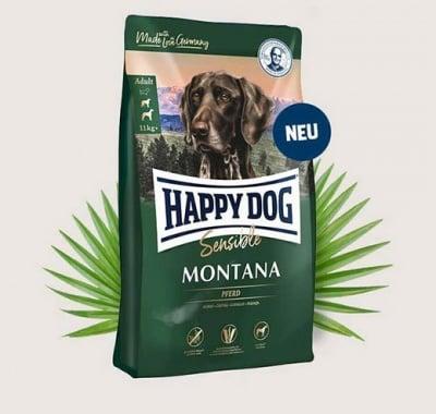 Храна за за чувствителни и капризни кучета от средни и големи породи Happy Dog Supreme Sensitive Montana с конско месо, без зърнени добавки - три разфасовки