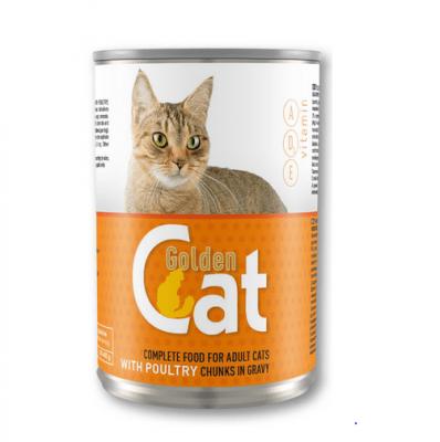 Храна за котки месо в сос Golden Cat, 415 гр, различни вкусове