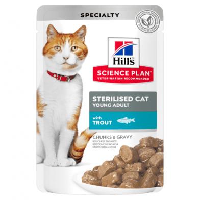 Пауч с пъстърва, малки късчета в сос Грейви за млади кастрирани котки от 6 мес.  до 6 год. Hill's Science Plan Sterilised Cat Young Adult, 12бр х 85гр