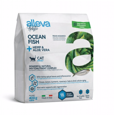 Пълноценна храна за възрастни котки Alleva® Holistic Adult Cat,  с Океанска Риба + Коноп и Алое вера, 0.400кг