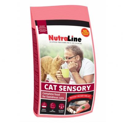 Храна за котки с капризен апетит Nutraline Cat SENSORY, с пиле и ориз, 1.00кг насипно