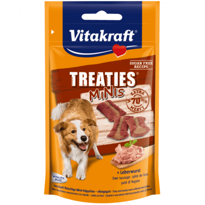 Лакомства за кучета Vitakraft TREATIES MINIS, сочни хапки с лебервурст, 48гр