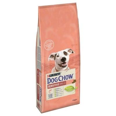 Суха храна за кучета с с чувствителна кожа и чувствително храносмилане Purina Dog Chow Adult Sensitive,със сьомга, 14.00кг