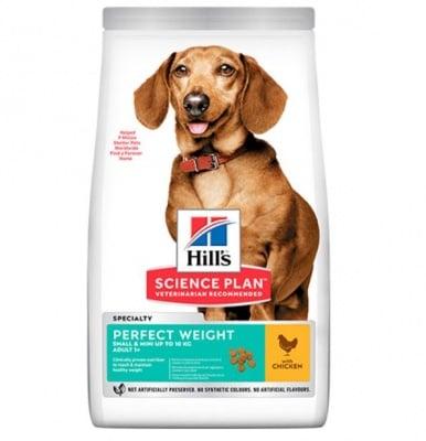 Пълноценна храна с пилешко за кучета от малките породи до 10кг над 1 год., с наднормено тегло HILL'S SCIENCE PLAN Perfect Weight Small & Mini Adult, три разфасовки