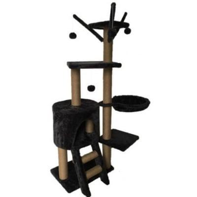 Драскало за коте тип катерушка с хралупа и стойки, шест нива, сизал и кадифе - 125 x 80 x 40 см