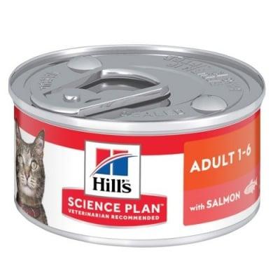 Пълноценна храна за котки от 1 до 6г. Hill's Science Plan Adult консерва със сьомга, 82гр