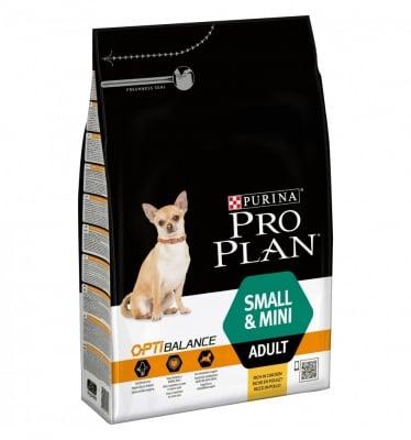 Суха храна за кучета в зряла възраст от малки породи Purina PRO PLAN Dog Small & Mini Adult, с  пилешко месо, три разфасовки